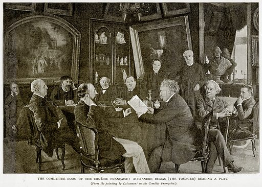 The Committee Room of the Comedie Francaise: Alexandre Dumas (The Younger) reading a play. Illustration from Old and New Paris by H Sutherland Edwards (Cassell, 1893).