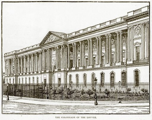 The Colonnade of the Louvre. Illustration from Old and New Paris by H Sutherland Edwards (Cassell, 1893).