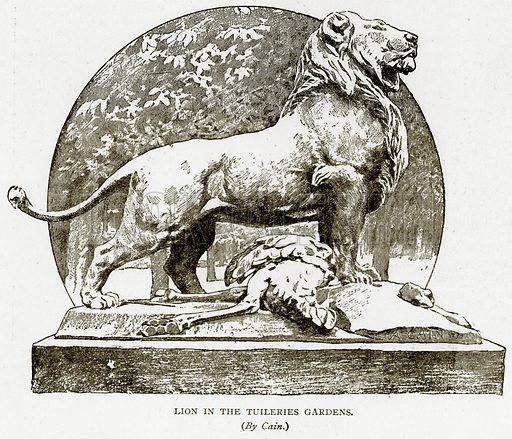 Lion in the Tuileries Gardens. Illustration from Old and New Paris by H Sutherland Edwards (Cassell, 1893).