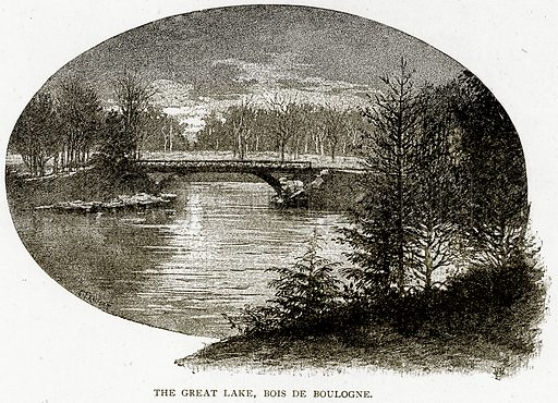 The Great Lake, Bois de Boulogne. Illustration from Old and New Paris by H Sutherland Edwards (Cassell, 1893).