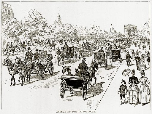 Avenue du Bois de Boulogne. Illustration from Old and New Paris by H Sutherland Edwards (Cassell, 1893).