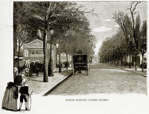 Avenue Marigny, Champs Elysees. Illustration from Old and New Paris by H Sutherland Edwards (Cassell, 1893).