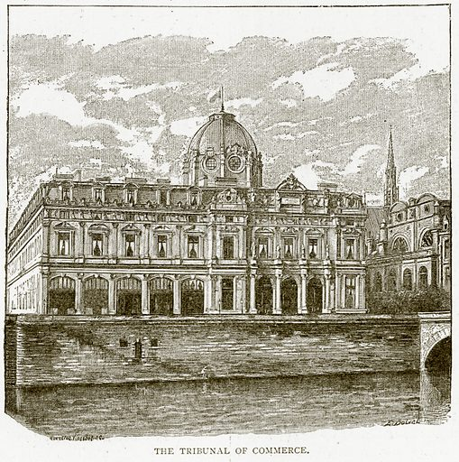 The Tribunal of Commerce. Illustration from Old and New Paris by H Sutherland Edwards (Cassell, 1893).