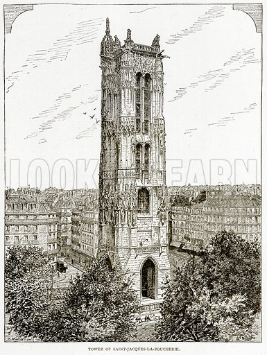 Tower of Saint-Jacques-la-Boucherie. Illustration from Old and New Paris by H Sutherland Edwards (Cassell, 1893).