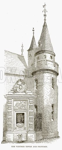 The Vertbois Tower and Fountain. Illustration from Old and New Paris by H Sutherland Edwards (Cassell, 1893).