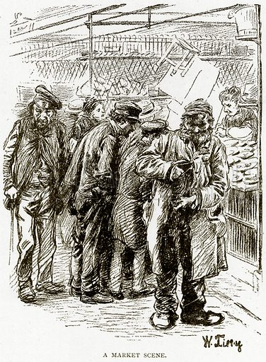 A Market Scene. Illustration from Old and New Paris by H Sutherland Edwards (Cassell, 1893).