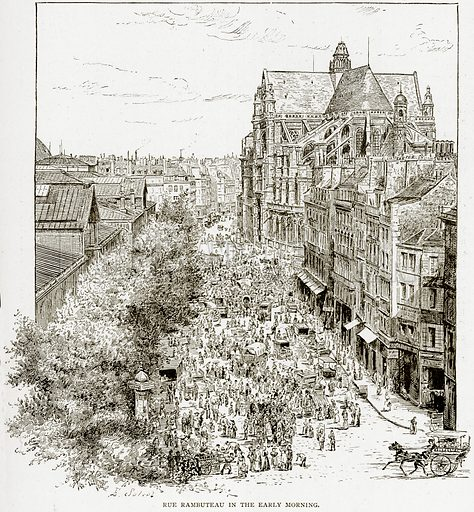 Rue Rambuteau in the early morning. Illustration from Old and New Paris by H Sutherland Edwards (Cassell, 1893).