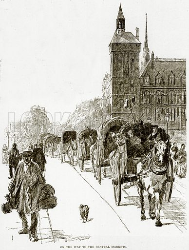 On the way to the Central Markets. Illustration from Old and New Paris by H Sutherland Edwards (Cassell, 1893).