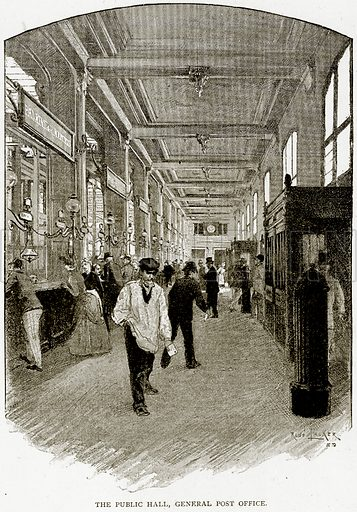 The Public Hall, General Post Office. Illustration from Old and New Paris by H Sutherland Edwards (Cassell, 1893).