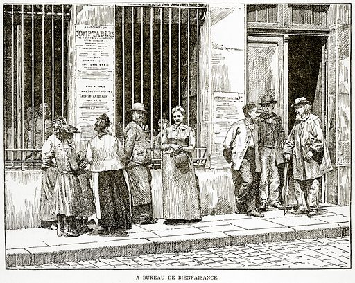 A Bureau de Bienfaisance. Illustration from Old and New Paris by H Sutherland Edwards (Cassell, 1893).