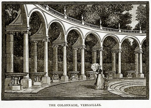 The Colonnade, Versailles. Illustration from Old and New Paris by H Sutherland Edwards (Cassell, 1893).