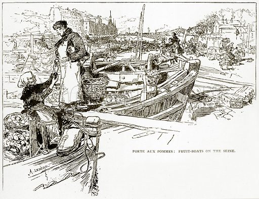 Porte Aux Pommes: Fruit-Boats on the Seine. Illustration from Old and New Paris by H Sutherland Edwards (Cassell, 1893).
