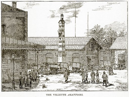 The Villette Abattoirs. Illustration from Old and New Paris by H Sutherland Edwards (Cassell, 1893).