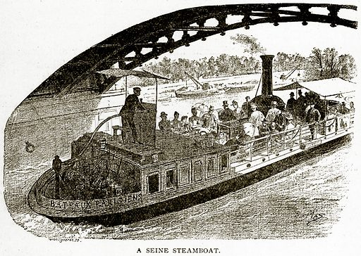 A Seine Steamboat. Illustration from Old and New Paris by H Sutherland Edwards (Cassell, 1893).