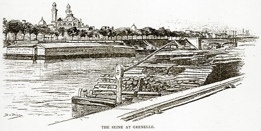 The Seine at Grenelle. Illustration from Old and New Paris by H Sutherland Edwards (Cassell, 1893).