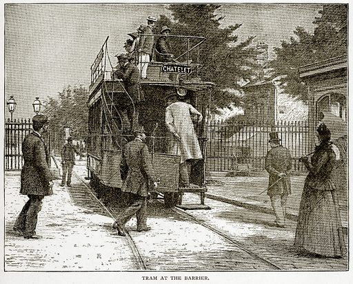 Tram at the Barrier. Illustration from Old and New Paris by H Sutherland Edwards (Cassell, 1893).