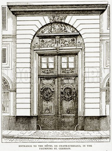 Entrance to the Hotel de Chateaubriand, in the Fauborg St. Germain. Illustration from Old and New Paris by H Sutherland Edwards (Cassell, 1893).