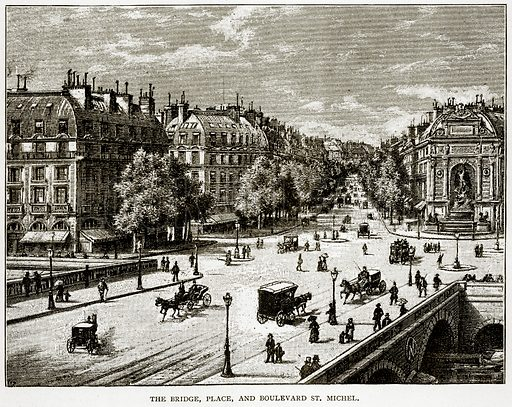 The Bridge, Place, and Boulevard St Michel. Illustration from Old and New Paris by H Sutherland Edwards (Cassell, 1893).