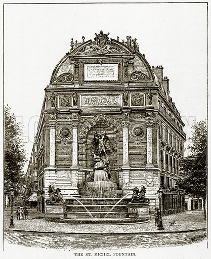 The St. Michel Fountain. Illustration from Old and New Paris by H Sutherland Edwards (Cassell, 1893).