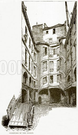 Courtyard of the Dragon. Illustration from Old and New Paris by H Sutherland Edwards (Cassell, 1893).