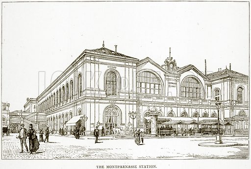 The Montparnasse Station. Illustration from Old and New Paris by H Sutherland Edwards (Cassell, 1893).