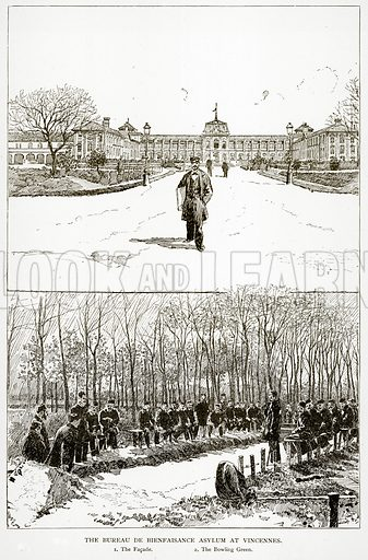 The Bureau de Bienfaisance Asylum at Vincennes. 1. The Facade. 2. The Bowling Green. Illustration from Old and New Paris by H Sutherland Edwards (Cassell, 1893).