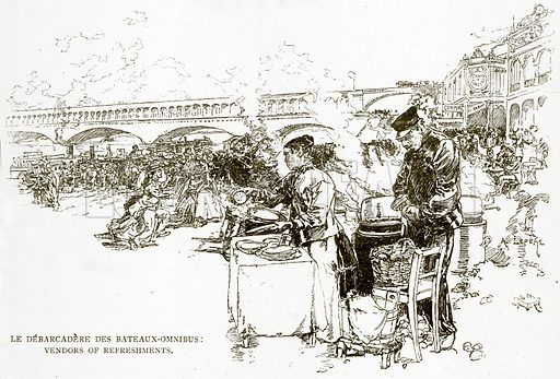 Le Debarcadere des Bateaux-Omnibus: Vendors of Refreshments. Illustration from Old and New Paris by H Sutherland Edwards (Cassell, 1893).