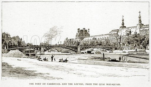 The Pont du Carrousel and the Louvre, from the Quai Malaquais. Illustration from Old and New Paris by H Sutherland Edwards (Cassell, 1893).