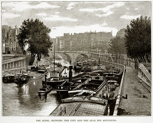 The Seine, between the City and the Quai des Augustins. Illustration from Old and New Paris by H Sutherland Edwards (Cassell, 1893).