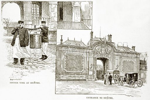 Dinner Time at Bicetre. Entrance to Bicetre. Illustration from Old and New Paris by H Sutherland Edwards (Cassell, 1893).