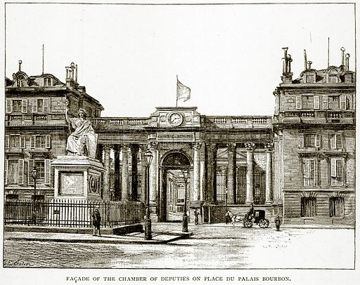 Facade of the Chamber of Deputies on Place du Palais Bourbon. Illustration from Old and New Paris by H Sutherland Edwards (Cassell, 1893).
