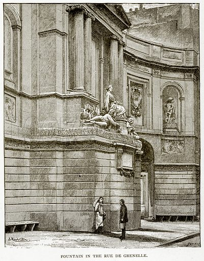 Fountain in the Rue de Grenelle. Illustration from Old and New Paris by H Sutherland Edwards (Cassell, 1893).
