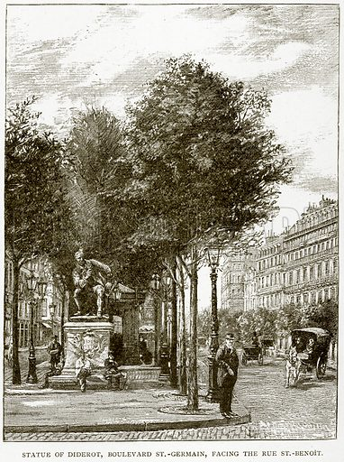 Statue of Diderot, Boulevard St.-German, facing the Rue St.-Benoit. Illustration from Old and New Paris by H Sutherland Edwards (Cassell, 1893).