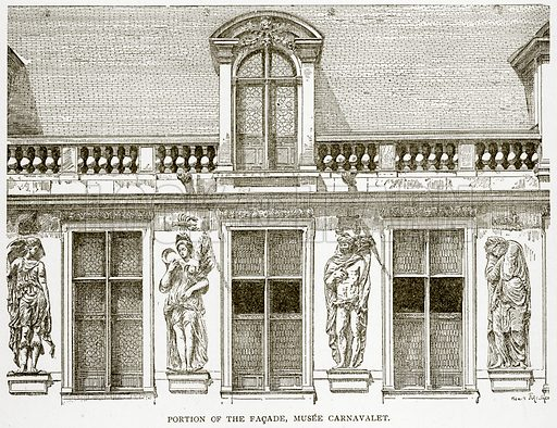 Portion of the Facade, Musee Carnavalet. Illustration from Old and New Paris by H Sutherland Edwards (Cassell, 1893).