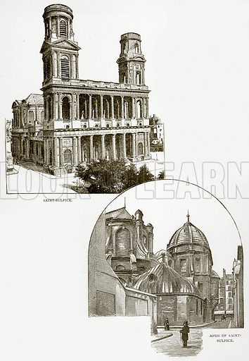 Saint-Sulpice. Apsis of Saint-Sulpice. Illustration from Old and New Paris by H Sutherland Edwards (Cassell, 1893).