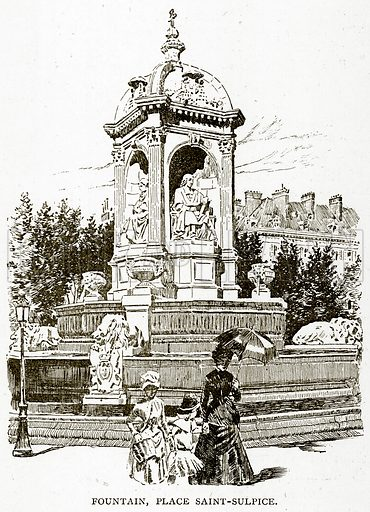 Fountain, Place Saint-Sulpice. Illustration from Old and New Paris by H Sutherland Edwards (Cassell, 1893).