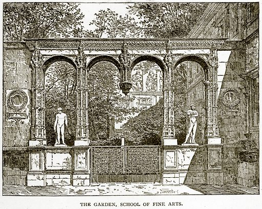 The Garden, School of Fine Arts. Illustration from Old and New Paris by H Sutherland Edwards (Cassell, 1893).