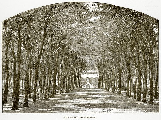 The Park, Salpetriere. Illustration from Old and New Paris by H Sutherland Edwards (Cassell, 1893).