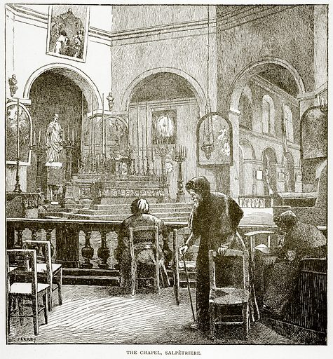 The Chapel, Salpetriere. Illustration from Old and New Paris by H Sutherland Edwards (Cassell, 1893).