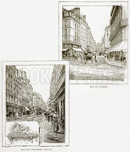 Rue de L'Odeon. Rue de L'Ancienne Comedie. Illustration from Old and New Paris by H Sutherland Edwards (Cassell, 1893).