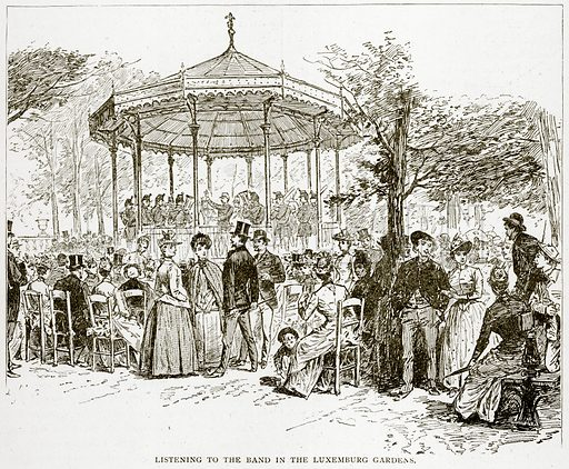 Listening to the band in the Luxemburg Gardens. Illustration from Old and New Paris by H Sutherland Edwards (Cassell, 1893).