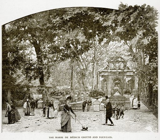 The Marie de Medicis Grotto and Fountain. Illustration from Old and New Paris by H Sutherland Edwards (Cassell, 1893).
