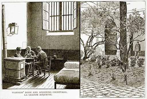 Warders' Room and adjoining Courtyard, La Grande Roquette. Illustration from Old and New Paris by H Sutherland Edwards (Cassell, 1893).