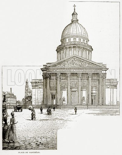 Place du Pantheon. Illustration from Old and New Paris by H Sutherland Edwards (Cassell, 1893).