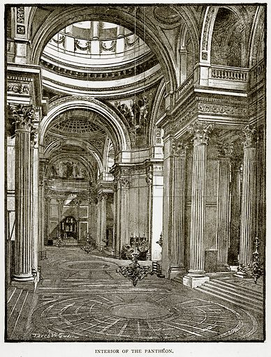 Interior of the Pantheon. Illustration from Old and New Paris by H Sutherland Edwards (Cassell, 1893).