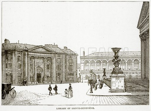 Library of Sainte-Genevieve. Illustration from Old and New Paris by H Sutherland Edwards (Cassell, 1893).