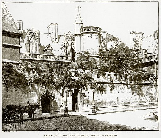 Entrance to the Cluny Museum, Rue du Sammerard. Illustration from Old and New Paris by H Sutherland Edwards (Cassell, 1893).