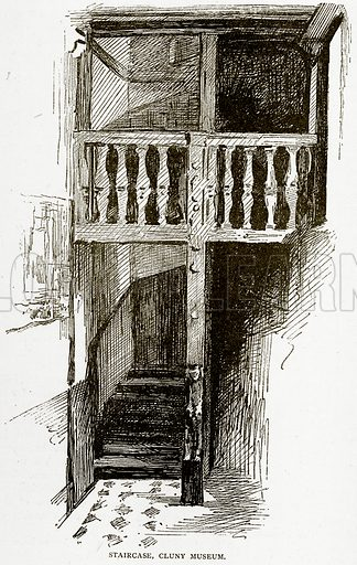 Staircase, Cluny Museum. Illustration from Old and New Paris by H Sutherland Edwards (Cassell, 1893).