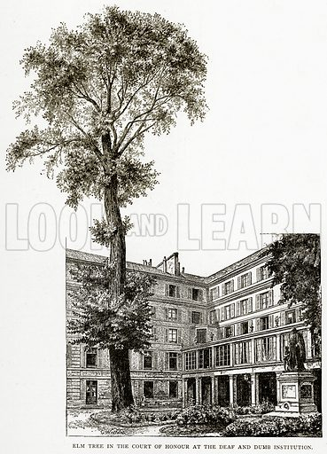 Elm Tree in the Court of Honour at the Deaf and Dumb Institution. Illustration from Old and New Paris by H Sutherland Edwards (Cassell, 1893).