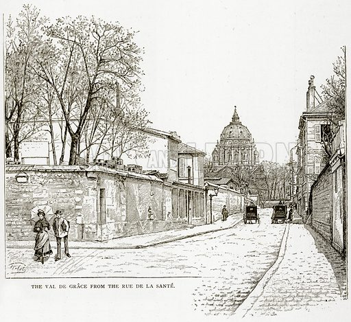 The Val de Grace from the Rue de la Sante. Illustration from Old and New Paris by H Sutherland Edwards (Cassell, 1893).